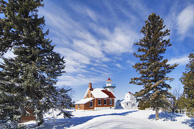 Photograph - Sherwood Point Lighthouse And New Snow -  - D001650 by Daniel Dempster