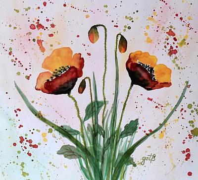 Roaring Red - Shining Red Poppies watercolor painting by Georgeta  Blanaru