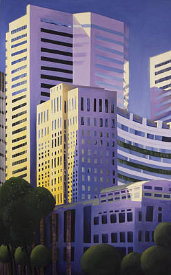 Montreal Buildings Painting - Shining Towers by Duane Gordon