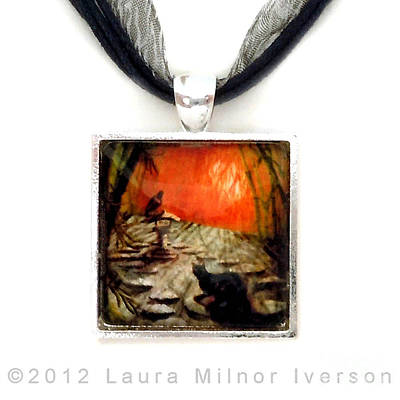 Jewelry - Shinto Lantern At Dusk Pendant by Laura Iverson
