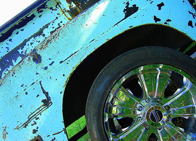 Photograph - Shiny Rims On Rusty Truck by Ramona Johnston