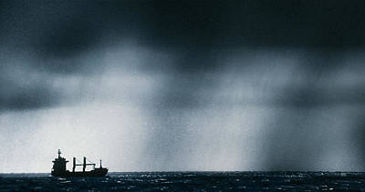 Ship At Sea Caught In Stormy Weather Print by Geoff Tompkinson