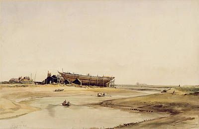 Shipyard Painting - Ship Building  by William Callow