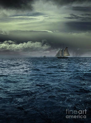 Photograph - Ship In Stormy Water On Ocean by Sandra Cunningham