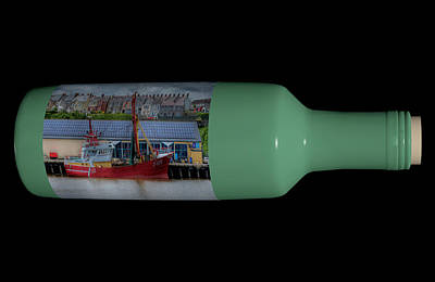 Ship In A Bottle Photograph - Ship On A Bottle With Black by Steve Purnell