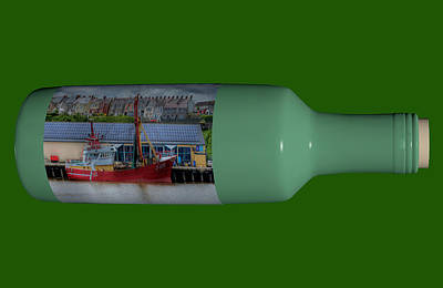 Ship In A Bottle Photograph - Ship On A Bottle With Green by Steve Purnell