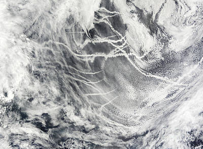 Ship Tracks In The Pacific Ocean Art Print by Stocktrek Images