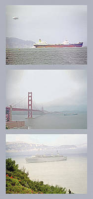 Shipping Triptych - San Francisco Bay Art Print by Steve Ohlsen