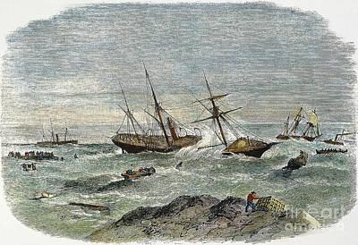 Lobstermen Photograph - Shipwreck, 19th Century by Granger