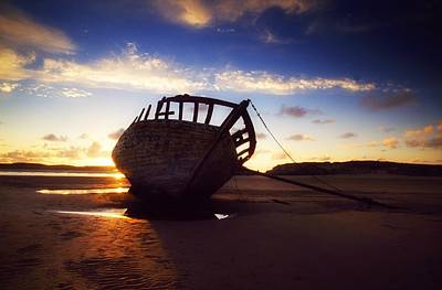 Shipwreck At Sunset, Co Donegal, Ireland Art Print by The Irish Image Collection