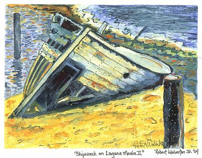 Neo-expressionism Painting - Shipwreck On Laguna Madre II by Robert Wolverton Jr