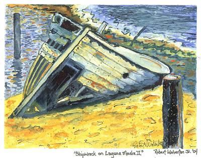 Shipwreck On Laguna Madre II Original by Robert Wolverton Jr