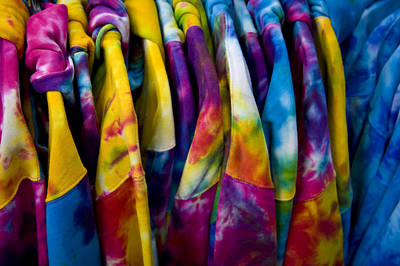 Shirts With Bright Tie-dye Colors Await Art Print