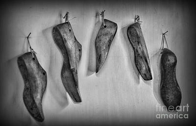 Wooden Ware Photograph - Shoe - Wooden Shoe Form - Black And White by Paul Ward