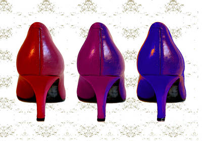Shoes In Red To Blue Art Print by Maralaina Holliday