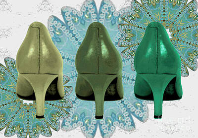 Shoes In Shades Of Green Art Print by Maralaina Holliday