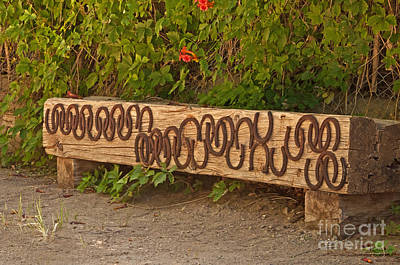 Shoes On The Bench Art Print by Bob and Nancy Kendrick
