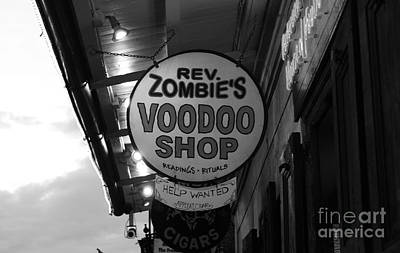 Voodoo Shop Wall Art - Photograph - Shop Signs French Quarter New Orleans Black And White by Shawn O'Brien