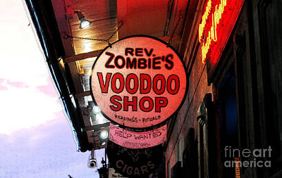 Voodoo Shop Wall Art - Digital Art - Shop Signs French Quarter New Orleans Ink Outlines Digital Art by Shawn O'Brien