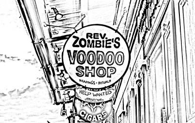 Voodoo Shop Wall Art - Digital Art - Shop Signs French Quarter New Orleans Photocopy Digital Art by Shawn O'Brien