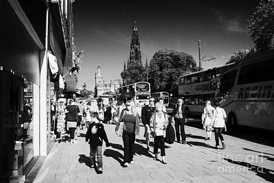 Shoppers And Tourists On Princes Street Edinburgh Scotland Uk United Kingdom Art Print by Joe Fox