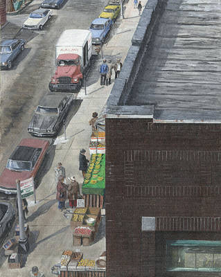Art Print featuring the painting shopping bklyn ny 1970S by Stuart B Yaeger