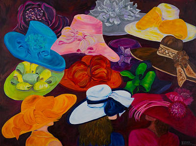 Hats Painting - Shopping For The Perfect Derby Hat by Dani Altieri Marinucci