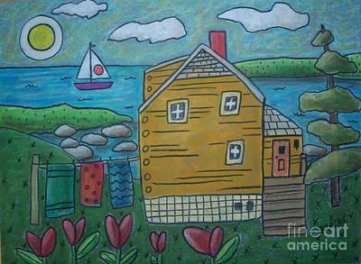 Oil Pastel Landscape Pastel - Shore Cottage by Karla Gerard