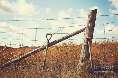 Shovels Leaning Against The Fence Art Print by Sandra Cunningham