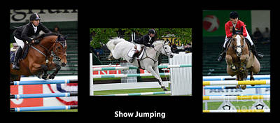 Show Jumping With Caption Art Print by Bob Christopher