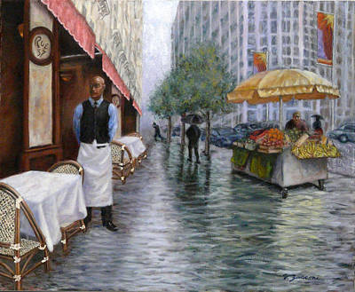 One Point Perspective Painting - Shower On Sixth  Avenue by Victor Zucconi