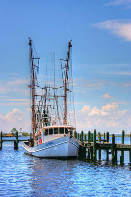 Shrimp Boat At Dock Art Print by Barry Jones