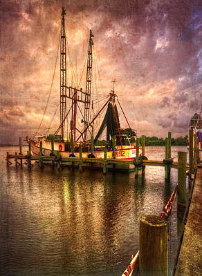 Shrimp Boat At Sunset II Art Print