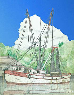 Netting Drawing - Shrimp Boat Sally Faye by Calvert Koerber