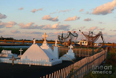 Art Print featuring the photograph Shrimp Boats And Cemetery by Jeanne  Woods