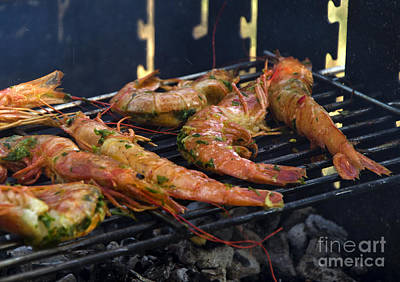Shrimp On Bbq Art Print by Perry Van Munster