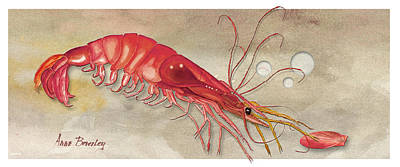 Art Print featuring the painting Shrimp With Red Shell by Anne Beverley-Stamps
