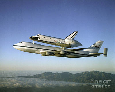 Shuttle Atlantis Piggyback, Boeing 747 Art Print by Nasa