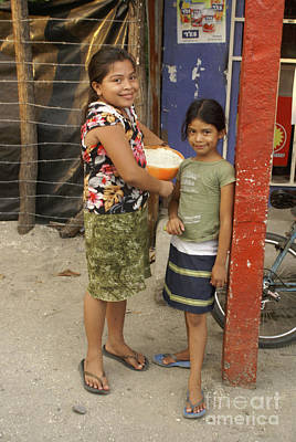 Photograph - Shy Girls In El Salvador by John  Mitchell