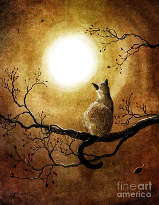 Golden Digital Art - Siamese Cat In Timeless Autumn by Laura Iverson