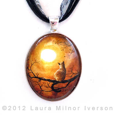 Jewelry - Siamese Cat In Timeless Autumn Pendant by Laura Iverson