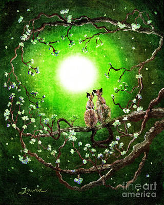 Siamese Cats In Spring Moonlight Art Print by Laura Iverson