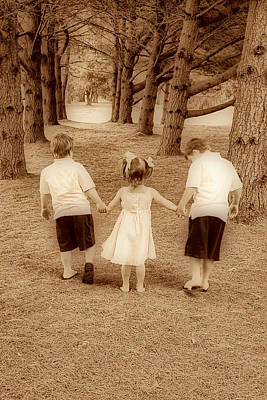 Photograph - Siblings Taking A Walk by Trudy Wilkerson