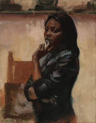 Painting - Sibo In Leather Jacket by Gavin Calf