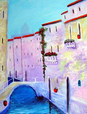 Venice Painting - Side Canal Of Venice by Larry Cirigliano