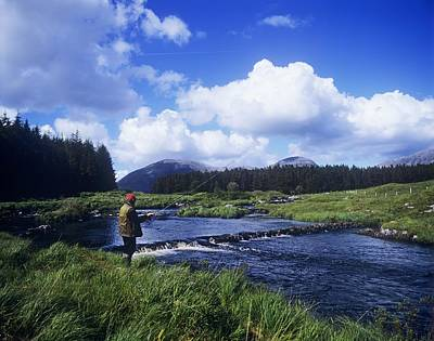 Side Profile Of A Man Fly-fishing In A Art Print by The Irish Image Collection