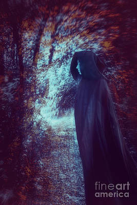 Fantasy Gothic Female Figures Photograph - Side View Of Wman With Cape In Woods by Sandra Cunningham