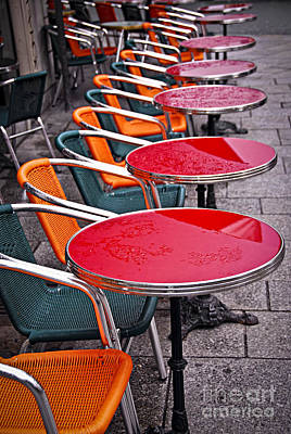 Sidewalk Cafe In Paris Art Print by Elena Elisseeva