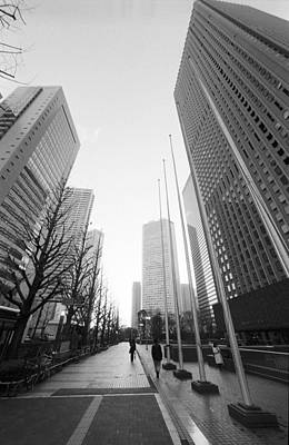 Sidewalk Near Skyscraper Art Print by Hiroshi Uzu