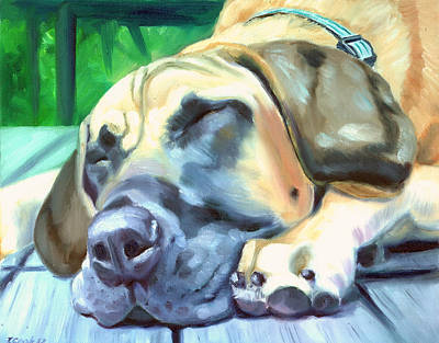 Great Dane Oil Painting - Siesta - Great Dane by Lyn Cook
